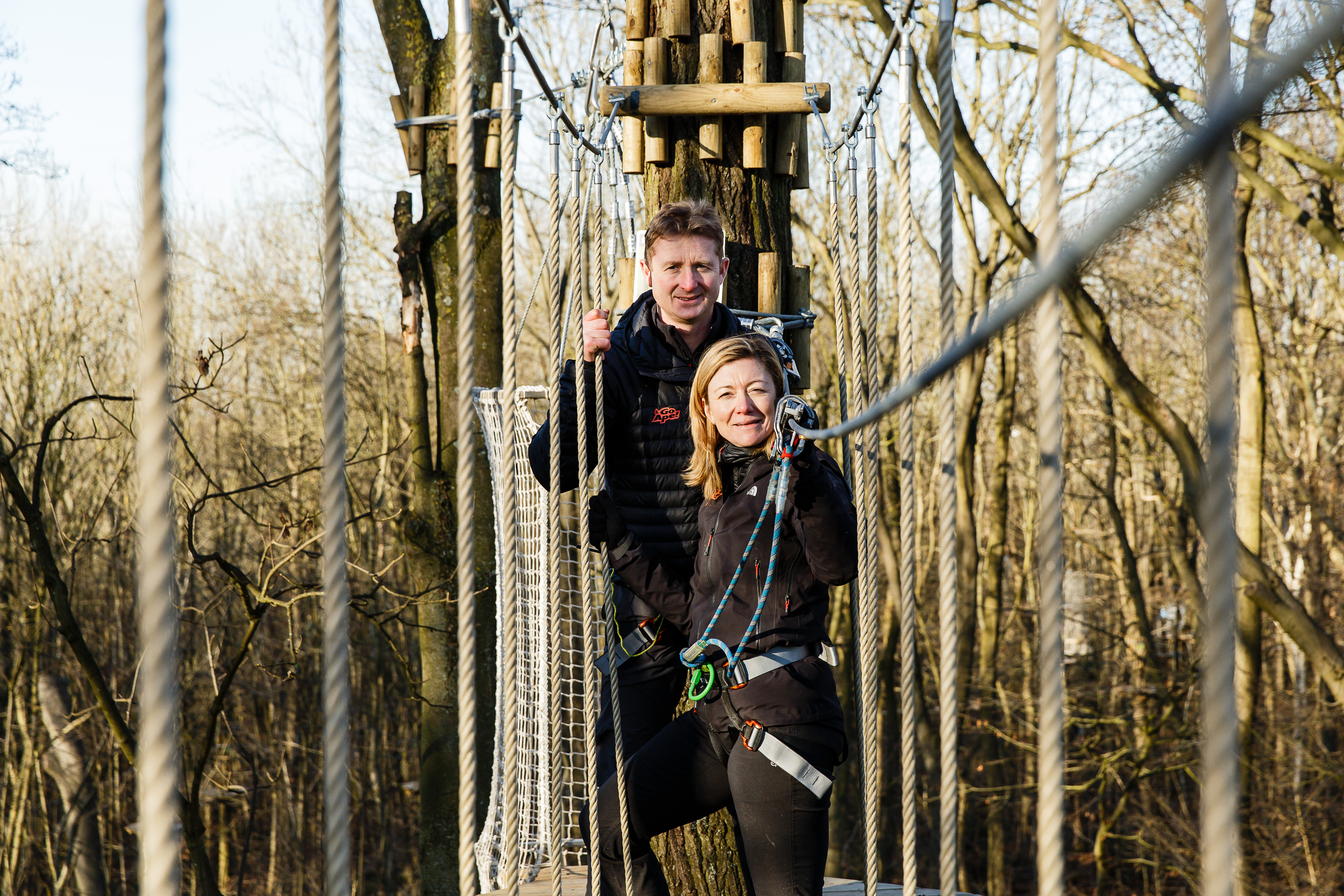 Tris and Becs Mayhew on a Go Ape Course
