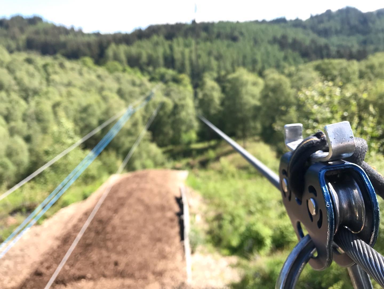 zip wire at Go Ape Aberfoyle