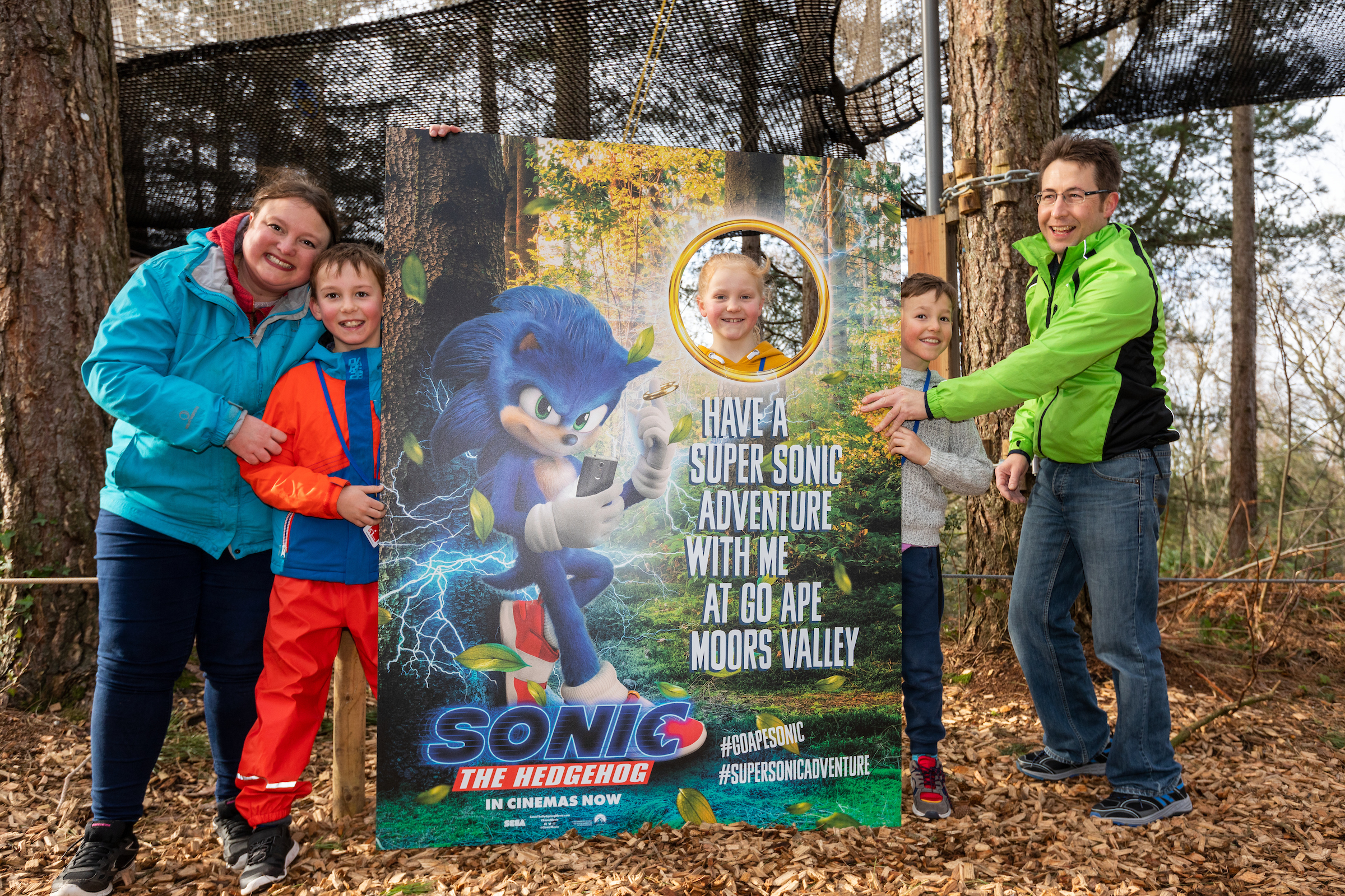 Family celebrating having completed Sonic Time Trial